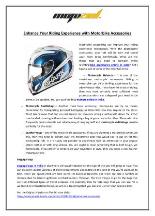 Enhance Your Riding Experience with Motorbike Accessories