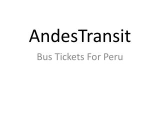 Peru Bus Tickets