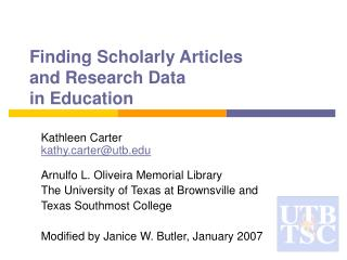 Finding Scholarly Articles  and Research Data  in Education