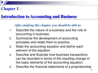 Chapter  1  –  Introduction to Accounting and Business