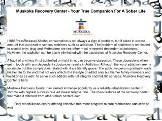 Muskoka Recovery Center - Your True Companion For A Sober Li