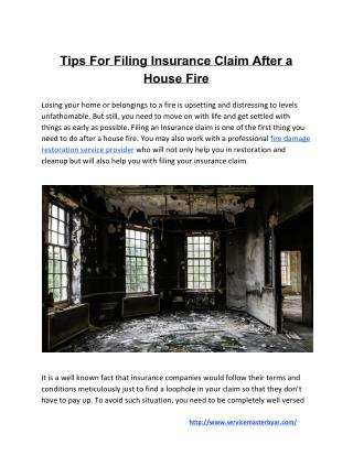 Tips For Filing Insurance Claim After a House Fire