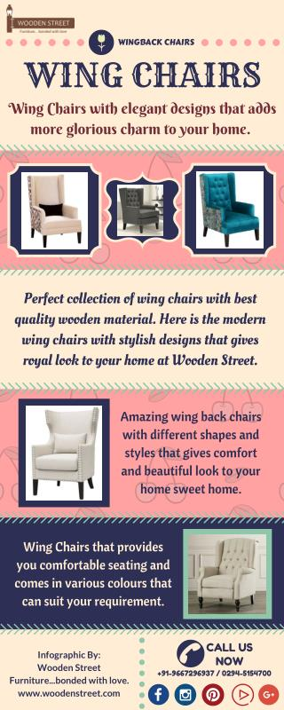 Buy Wing Chairs online with fabulous designs at great discount