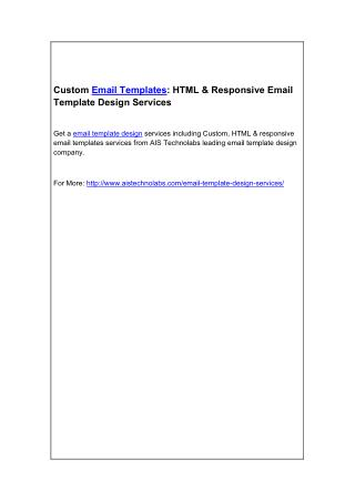 Custom Email Templates: HTML & Responsive Email Template Design Services