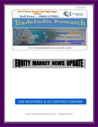 TradeIndia Research Weekly Equity Report