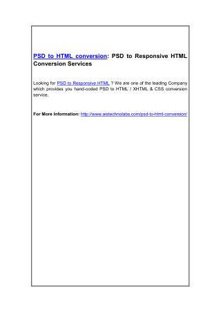 PSD to HTML conversion: PSD to Responsive HTML Conversion Services