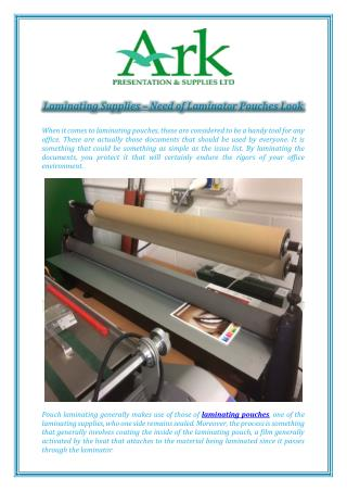 Laminating Supplies – Need of Laminator Pouches