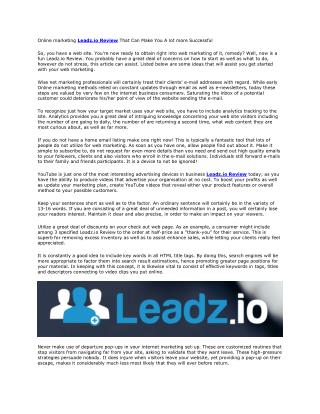 Leadz.io Review And Huge Bonus