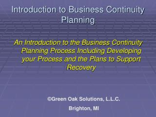 Introduction to Business Continuity Planning