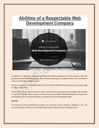Abilities of a Respectable Web Development Company