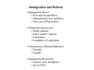 Immigration and Reform