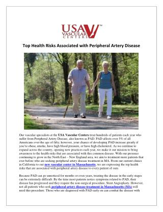 Health Risks Associated with Peripheral Artery Disease