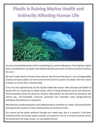 Plastic is Ruining Marine Health and Indirectly Affecting Human Life
