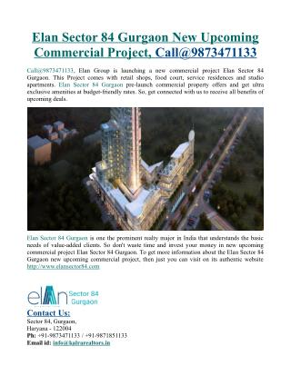 Elan Sector 84 Gurgaon New Upcoming Commercial Project
