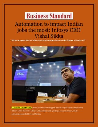Automation to impact Indian jobs the most: Infosys CEO Vishal Sikka