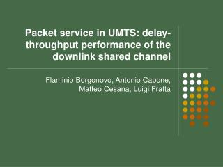 Packet service in UMTS: delay-throughput performance of the downlink shared channel