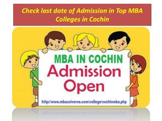 Check last date of Admission in Top MBA Colleges in Cochin