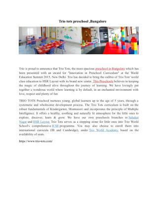 Preschool in Bangalore-TRIO-TOTS