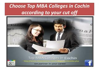 Choose top MBA colleges in Cochin according to your cut off