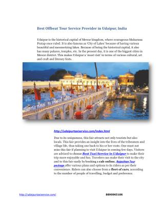 Best Offbeat Tour Service Provider in Udaipur, India