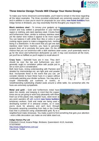Proposition for your sparkly new home builders from indigo homes
