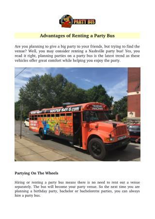 Advantages of Renting a Party Bus