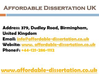 Affordable Dissertation UK - Get Best Dissertation Solutions