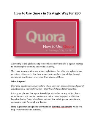 How to Use Quora in Strategic Way for SEO