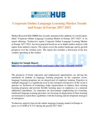 Corporate Online Language Learning Market Trends and Scope in Europe 2017-2021