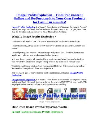 Image Profits Explosion Review-(GIANT) bonus & discount