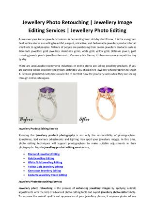 Jewellery Photo Retouching - Jewellery Image Editing Services - Jewellery Photo Editing