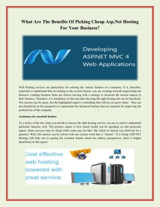 What Are The Benefits Of Picking Cheap Asp.Net Hosting For Your Business?