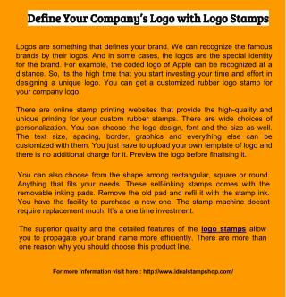 Define Your Company's Logo with Logo Stamps