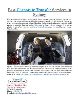 Best Corporate Transfer Services in Sydney