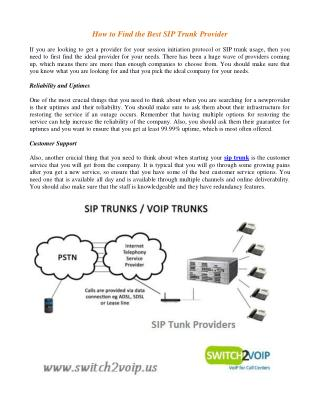 High Quality SIP Trunk Providers