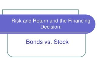 Risk and Return and the Financing Decision: