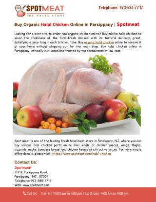 Buy Halal Chicken Online in Parsippany - Spotmeat