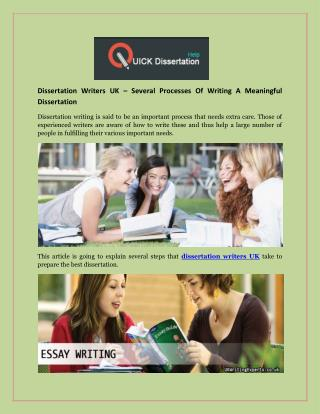 Dissertation Writers UK – Several Processes Of Writing A Meaningful Dissertation