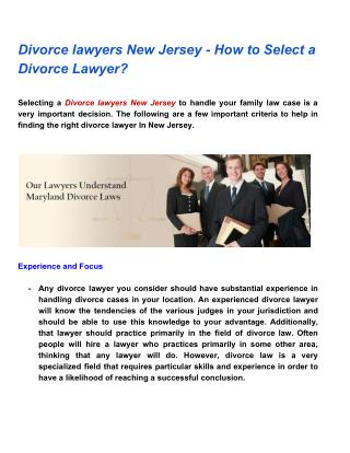 Divorce lawyers New Jersey  - How to Select a Divorce Lawyer