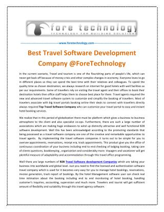 Best Travel Software Development Company @ForeTechnology