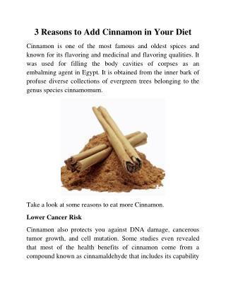 3 Reasons to Add Cinnamon in Your Diet