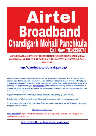 Airtel broadband plans chandigarh,mohali