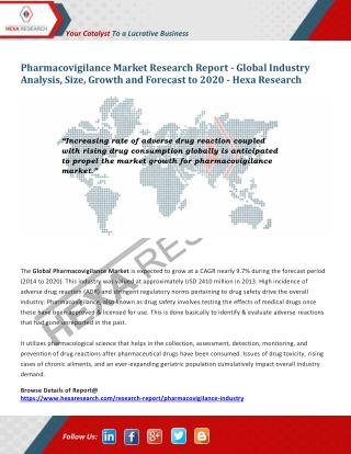 Pharmacovigilance Market to Project 9.7% CAGR from 2014 to 2020 | Hexa Research