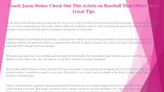 Coach Jason Stokes Helping You Understand the World of Baseball with These Easy Tips