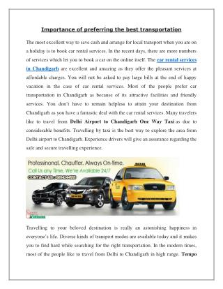 Choose your best taxi Services for one-way travel – chandigarhtaxiwala