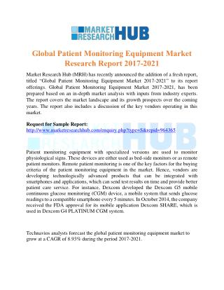 Global Patient Monitoring Equipment Market Research Report 2017-2021