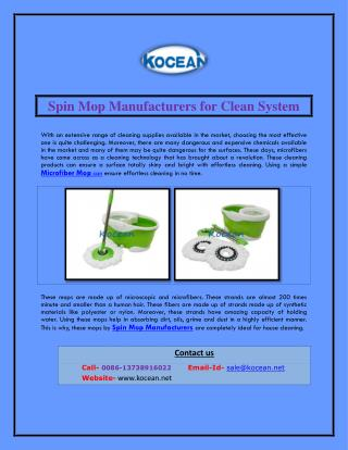 Spin Mop Manufacturers for Clean System