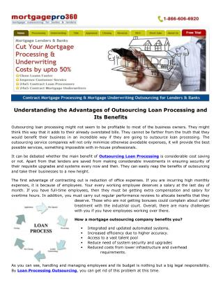 Understanding the Advantages of Outsourcing Loan Processing and Its Benefits