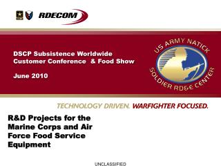 R&D Projects for the Marine Corps and Air Force Food Service Equipment