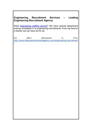 Engineering Recruitment Services – Leading Engineering Recruitment Agency